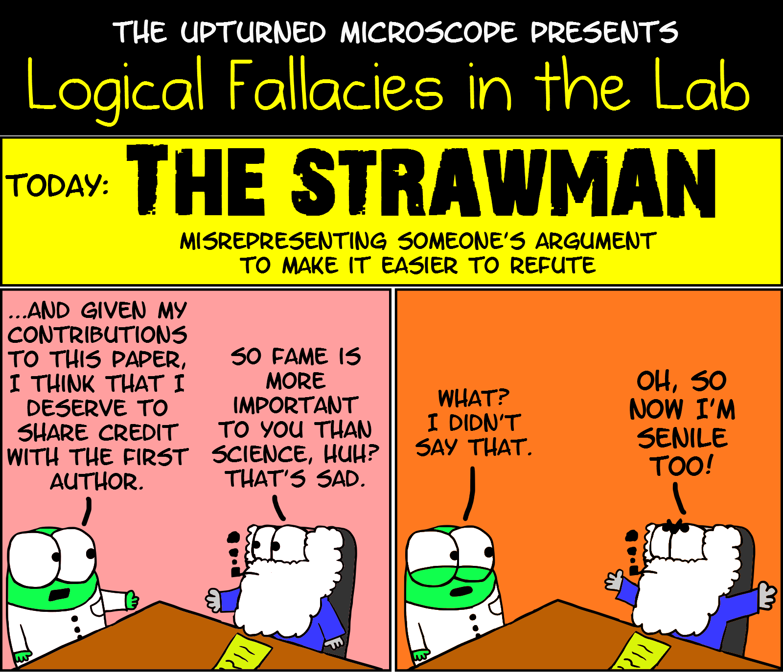 humour the upturned microscope page  logical fallacies strawman