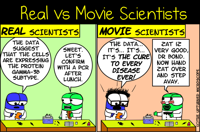 real vs movie scientists 9